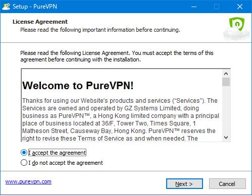 PureVPNアプリインストール ライセンス同意