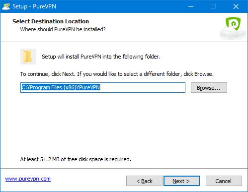 PureVPNアプリインストール インストール先選択
