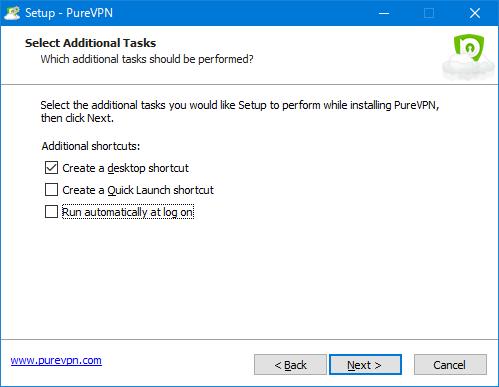 PureVPNアプリインストール 追加タスク選択