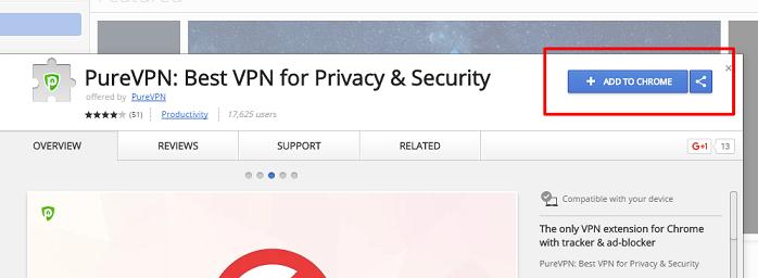 PureVPN Chromeプラグインインストール