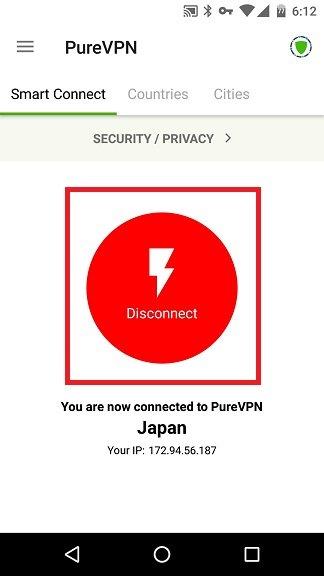 PureVPN接続完了