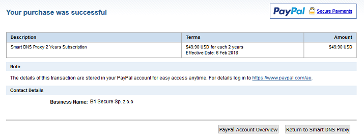 Smart DNS Proxy payment done