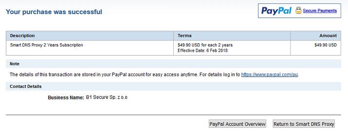Smart DNS Proxy支払い完了画面