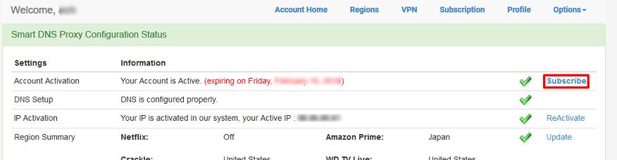 Smart DNS Proxyホーム画面 支払い画面