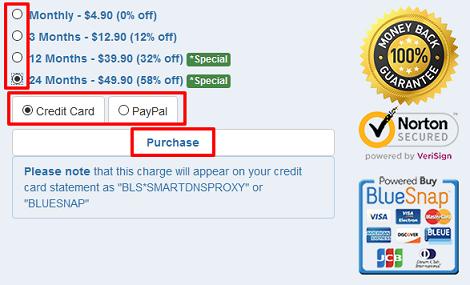 Smart DNS Proxy支払方法選択画面