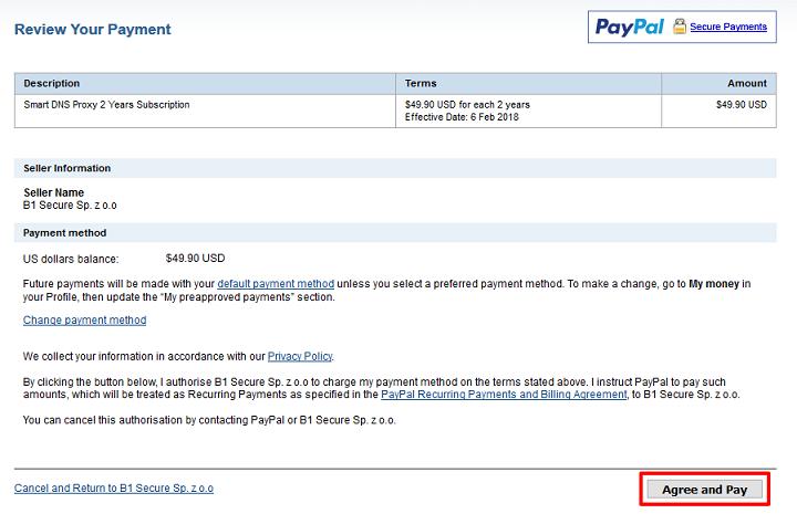 Smart DNS Proxy支払い確認画面