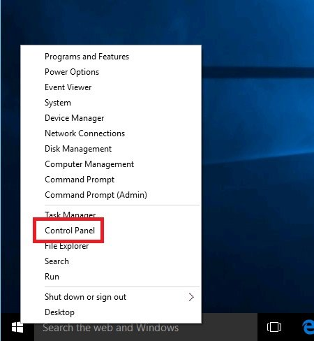 Windowsコントロールパネル選択画面