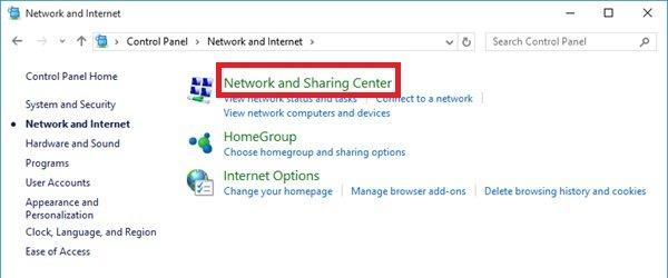 Windowsネットワークとインターネット選択画面