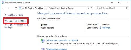 Windowsネットワークアダプタ設定画面