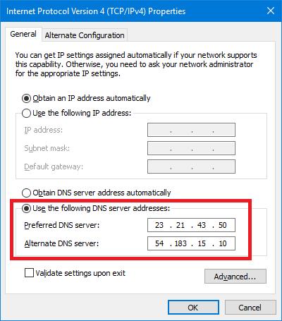Smart DNS Proxy向けDNSサーバー設定画面