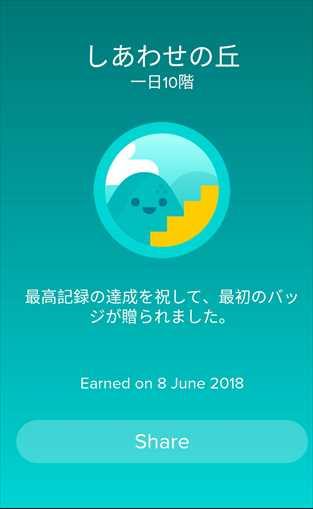 Fitbit Versaターゲット達成画面
