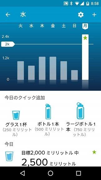 Fitbit Versa水分摂取記録画面