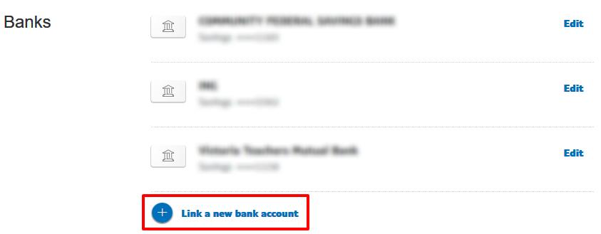 PayPalリンク銀行口座登録画面
