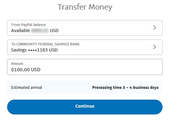 Paypalからの送金手続き通貨と金額入力画面