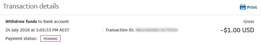 Paypalから送金手続き後に表示される保留表示