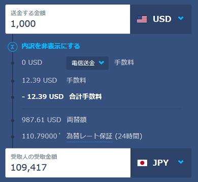 TransferWiseの1000米ドルから日本円の両替手数料例