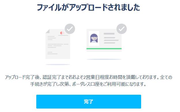 TransferWiseボーダレス口座登録 本人確認書類提出完了画面