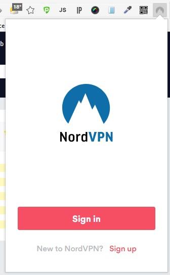 NordVPNブラウザプラグイン サインイン